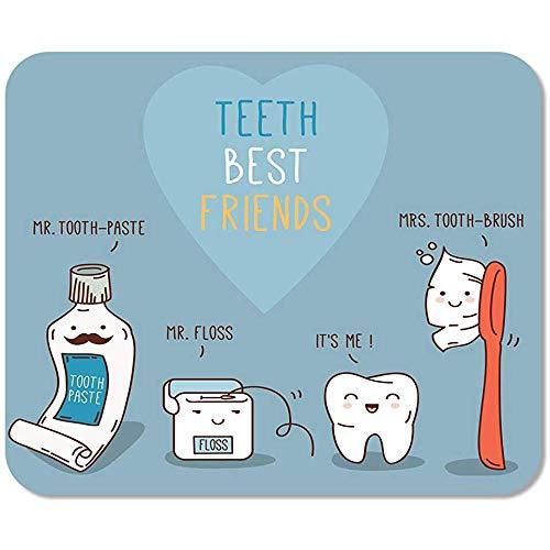Mousepad Computer Notepad Office Teeth Best Friends Zahnpasta Zahnbürste und Zahnseide Dental für Kinder Zahnmedizin Home Game Player