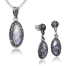 Materia 925 plata joyas - nácar colgante & pendei pendientes con forma ovalada y marcasitas incluye cadena #45-100-22