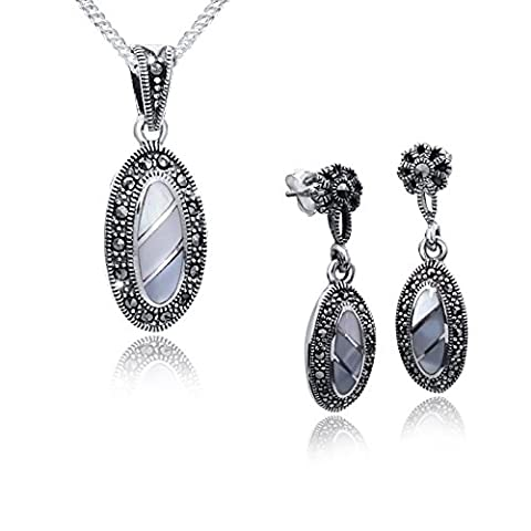 Materia # Jewelry Set–Mother of Pearl & Pendant Oval with