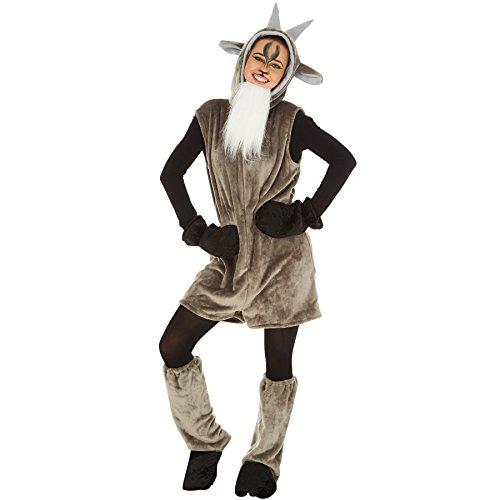 Kostüm Ziege für Sie und Ihn | Aus weichem Fellimitatstoff | Kapuze mit Ohren und Hörnern | inkl. Bart mit Gummiband, Handschuhe und Ganzkörperstrumpfhose (L | Nr. (Männer Schaf Für Kostüm)
