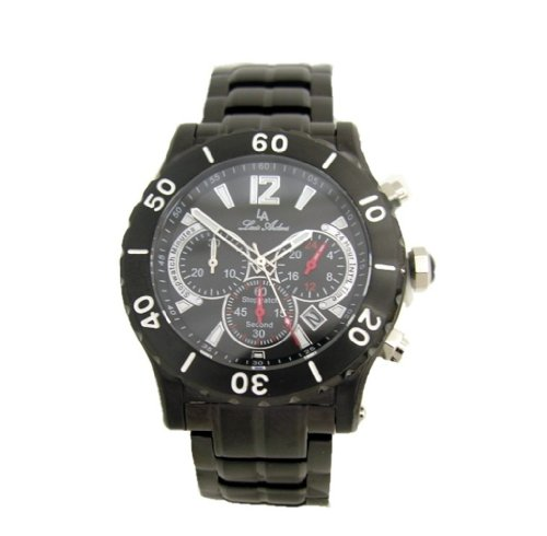 Louis Ardens Blaine by Oskar Emil IP Black Chronograph Stainless Steel Gents Watch