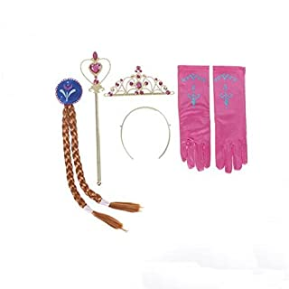 Princess Elsa Anna Dress up Party Accessories 4 Set Gloves, Tiara, Wand and Braid (Rose for Anna)