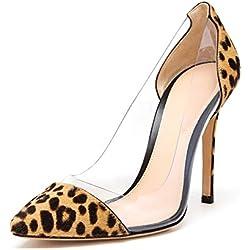 uBeauty Damen Stilettos Slip On Klassische Sexy Transparente Pumps Tägliche High Heels Große Größe Schuhe Leopard 38 EU