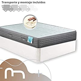 MICAMAMELLAMA-Canap-de-Madera-Cheap-Colchn-viscoelstico-Reversible-Premium-Montaje-Incluido-Blanco-150x190