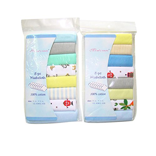 """CuteOn Packung mit 8 Weich Baumwoll Baby Gesicht Waschlappen Hand Handtücher Waschen Bad Dusche Wischen Pflege Handtuch 8.27\"""" x 8.27\"""" Junge"""