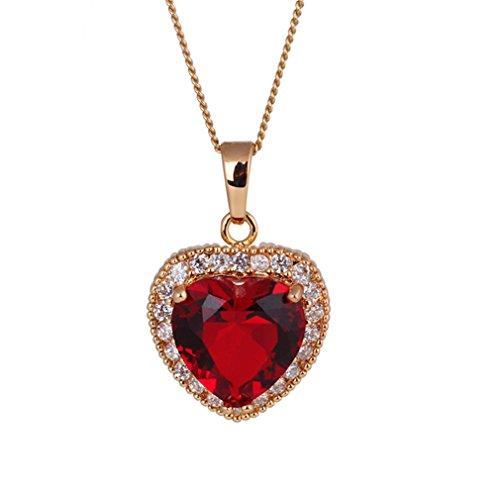 Corazón 18K plateó el cristal austríaco embutido diamante Rubí Elemento collar de la aleación