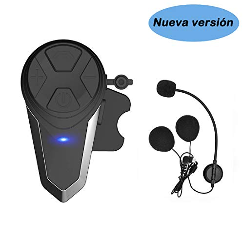 KOEITT BT-S3 Intercomunicador Casco Moto Auriculares Intercomunicador Moto Bluetooth para Motocicletas,Gama Comunicación Intercom de 1000m, Impermeabilidad(1*BT-S3)