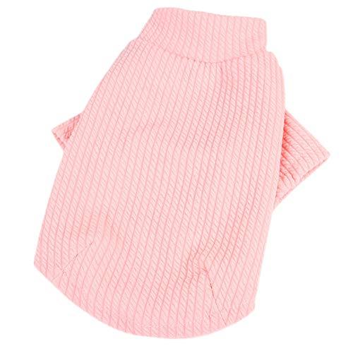 (Toruiwa Haustier Hund Katze Kleidung Haustier T-Shirt Pullover Welpen Mantel Warme Hoodies Kostüm Bekleidung für Herbst Winter (Rosa))
