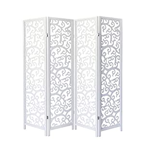 Homestyle4u 1056, Paravent Raumteiler 4 teilig, Kiefer Holz Ornamente, Weiß
