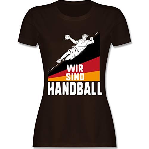 Handball WM 2019 - Wir sind Handball! Deutschland - S - Braun - L191 - Damen Tshirt und Frauen T-Shirt