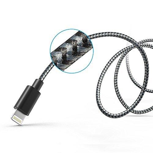 [Apple MFi Zertifiziert] Anker 90cm mit Nylon umflochtenes verwicklungssicheres USB Kabel mit Lightning Stecker Ladekabel für iPhone 6s / 6 / 6 Plus / 6s Plus, iPad Pro / Air 2 und weitere (Space Grau)
