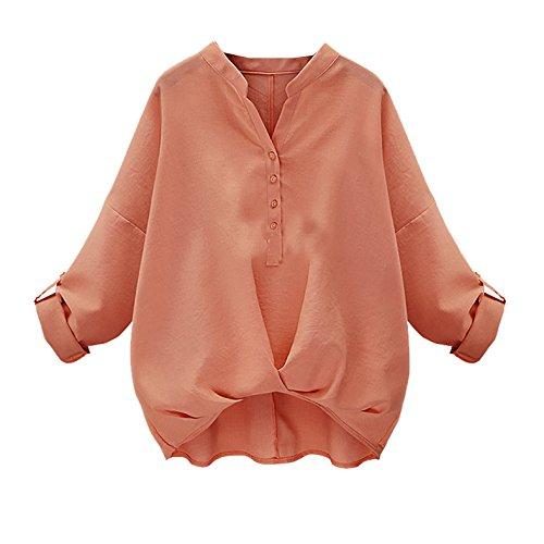 Damen Mode Normallacks Retro Unterhemden Langarm Hemd Loose Beiläufige Hemden Tops Lässig Blusen Oberteile T-Shirt Rosa
