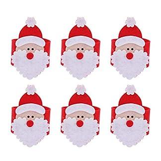 BESTOYARD 6pcs Anillos de servilleta de Navidad Bandas Servilleta Hebilla Adornos para la Fiesta de Navidad Decoración Decoración de la Mesa de la Cena