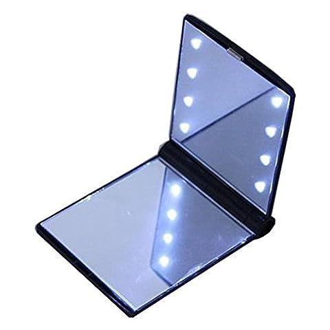 Tragbarer Taschenspiegel YYGIFT® Zweiseitiger Kosmetikspiegel Klappbarer Schminkspiegel Make-up-Spiegel mit LED Beleuchtung 270° Falterbarer Spiegel Batteriebetrieben für Zuhause und