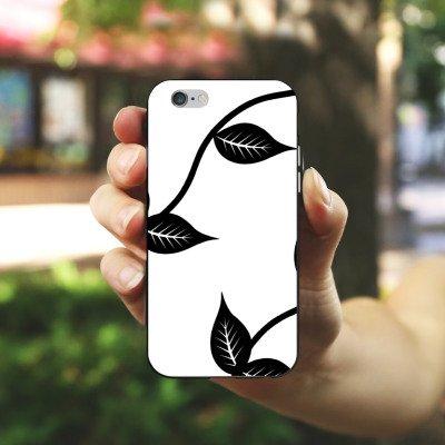 Apple iPhone X Silikon Hülle Case Schutzhülle Blätter Floral Muster Silikon Case schwarz / weiß