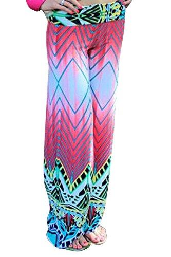 Moollyfox Donne Pantalone Moda Stampato Lungo Diritti Allentati Rosa Pantaloni Palazzo Sportivi Pantaloni Pink