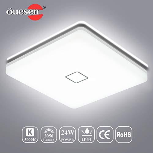 Öuesen 24W Plafonnier LED Luminaire Salle de bains Blanc Froid IP44 2050LM 5000K Lampe Carré Moderne pour Chambre Couloir Salon Balcon Eclairage Intérieur 15-25 m²