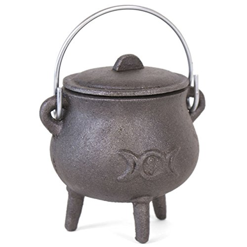 Small Cast Iron Cauldron With Lid and Handle. Triple Moon Design. Approx 11cm Tall- Not Including Handle by THE FLYING WITCH