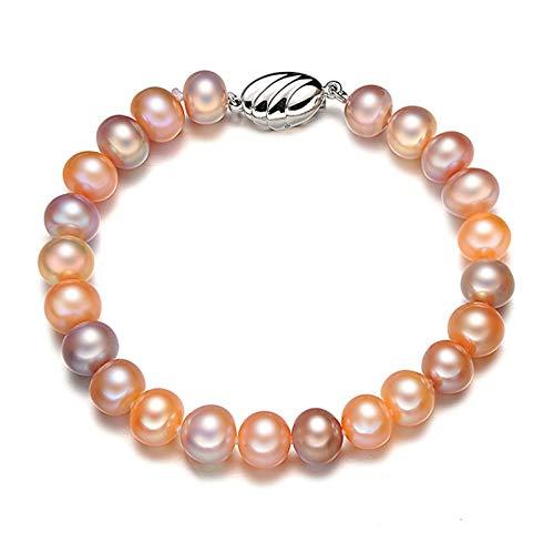 Epinki Platiniert Kette Damen Armband Rund Perlen Bunt Armreifen Länge 18CM Perlen 9-10MM