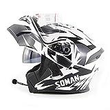 SIER Motorradhelm mit Bluetooth Motorradhelm Motorradhelm Solarabdeckplane Helm Mp3 Walkie-Talkie weiß grau,S