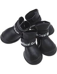 Semoss 4 Set Zapatos Perro Impermeable Rubber Perro Botas Zapatos Animal,Negro,Talla:L,6.0 x 4.5 cm (L x B)