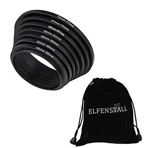 Elfenstall 7 teiliges Step Up Metall Ring Filter Set - Adapter 49 / 52 / 55 / 58 / 62 / 67 / 72 / 77 mm für canon nikon Kameras und Objektive - Filter - Adapterring für Objektiv Objektivadapter Ringe 77mm Canon-objektiv-filter