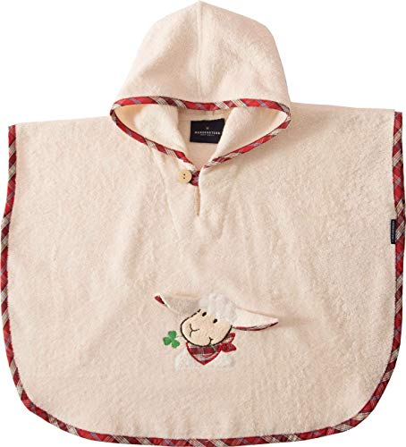 Morgenstern Kinder Badeponcho mit Kapuze und niedlicher Schaf-Stickerei beige