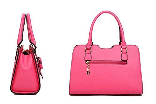 Pelle Borsetta Borsa a Tracolla per le Donne Colore Puro-rosa rosa rosso