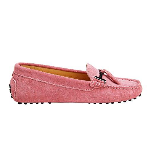 ShenDuo Damen Mokassins Lederschuhe Casual Slipper Sommer Schuhe mit Metallschnallen und Bällchen D7057 Pink