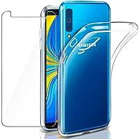 """Cover Galaxy A7 2018 Custodia + Pellicola Protettiva in Vetro Temperato, Leathlux Morbido Trasparente Silicone Custodie Protettivo TPU Gel Sottile Cover per Galaxy A7 (2018) 6.0"""""""