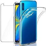 Funda + Cristal para Samsung A7 2018, Leathlux Transparente Galaxy A7 2018 TPU Silicona [Funda + Vidrio Templado] Ultra Fino Protector de Pantalla Back Case Cover para Samsung Galaxy A7 2018