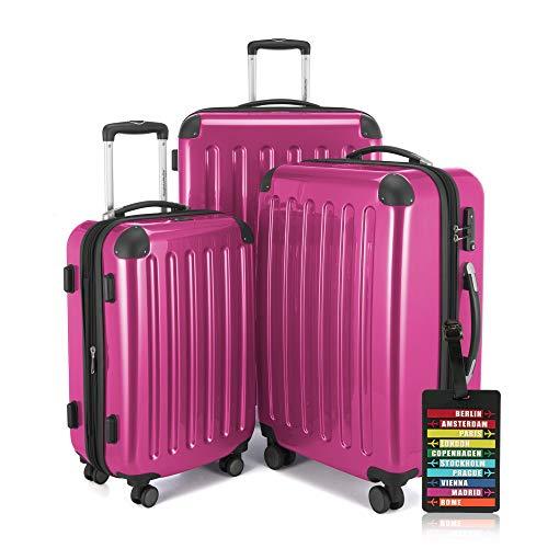 Hauptstadtkoffer - Alex - 3er-Koffer-Set Trolley-Set Rollkoffer Reisekoffer-Set Erweiterbar, TSA, 4 Rollen, (S, M & XL), Pink +Design Kofferanhänger -