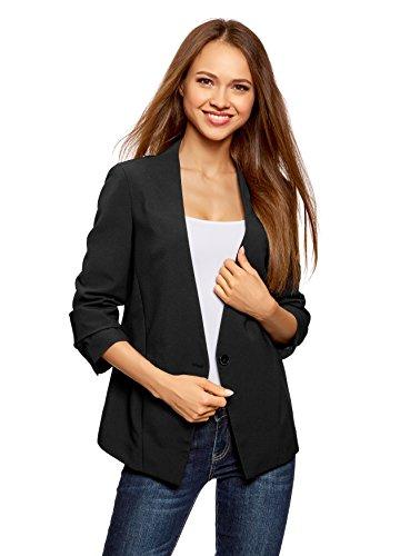 oodji Ultra Damen Taillierter Blazer mit 3/4-Arm, Schwarz, DE 32 / EU 34 / XXS