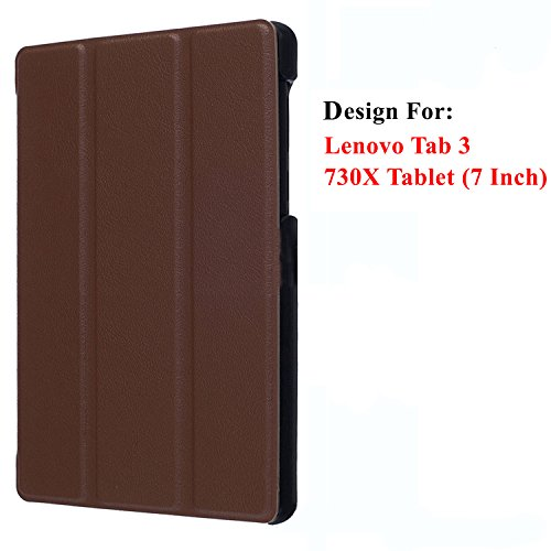 Taslar Leather Flip Case With Stand Function Cover With Magnet Lock For Lenovo Tab 3 730X Tablet (7 Inch)(Brown)