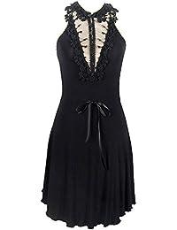 9de36c935802 Devil Fashion Robe Noire épurée avec décolleté en Dentelle et Ruban