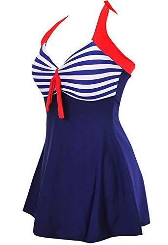 ALICECOCO Damen Retro Polka Schwimmen Kostüm Kleid Plus Size One Piece Bademode mit Boyshort Bottom(FBA) (EU 38--40 ( L ), Blaue Streifen)