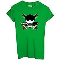 T-Shirt ZORO LOGO ONE PIECE - CARTOON by iMage Dress Your Style - Bambino-XS-VERDE PRATO