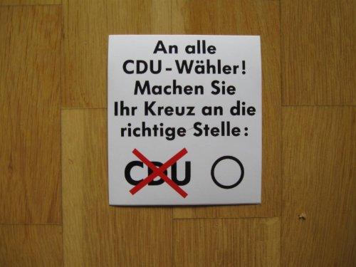 5 Stück CDU-Wahlaufkleber (Satire) in 9,5 x 10,5 cm Format