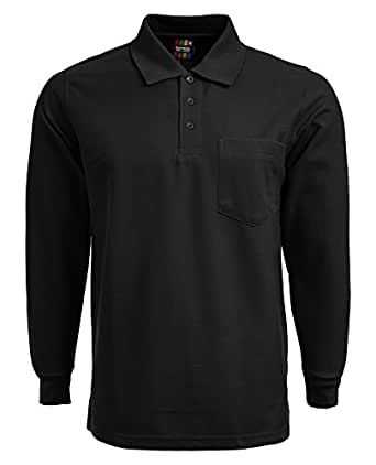 Mens long sleeve polo shirt with front pocket sports work for Mens work polo shirts