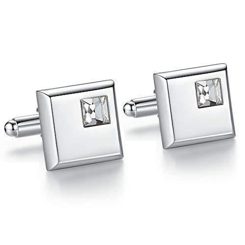 Honey Bear gemelli camicia uomo argento quadrato con cristallo ,acciaio per regalo di nozze d'affari (bianca)