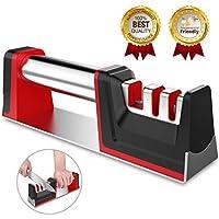 Joso Messerschärfer Messerschaerfer Messerschleifer 3 Stufen Messer Schärfen Enorm Effektiv für Edelstahl und Keramikmesser Aller Größen, Rutschfestem Unterseite (Schwarz + Rot) (1)