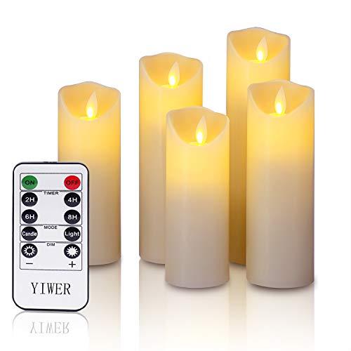 YIWER sans Flamme Bougies tropf Libre Cire Véritable Pas Plastique, Les piliers de Danse de Flammes et 10 LED Key télécommande avec minuteur 24 h Function réaliste yiwei. (5 x 1, Ivoire)