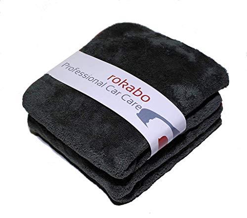rokabo 2X Microfasertücher Poliertücher Reinigungstücher Ultra flauschig lackschonend und fusselfrei 1200GSM 42x48cm Autopflege Poliertuch
