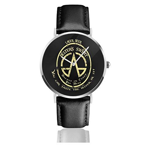 Unisex Business Casual Lager Biergürtel Sweat The Ex-Panse Uhren Quarz Leder Uhr mit schwarzem Lederband für Herren Damen Young Collection Geschenk