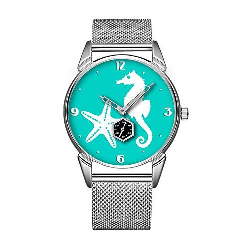 (Mode wasserdicht Uhr minimalistischen Persönlichkeit Muster Uhr -790. Seepferdchen & Seestern-weiß auf Türkis)