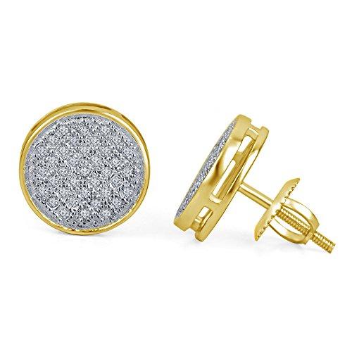 lilu Jewels superbe coupe ronde Blanc Véritable Diamant Blanc Boucles d'oreilles rondes à vis arrière 14k Gold Plated
