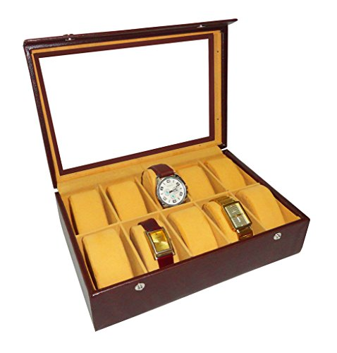 Atorakushon 10 slot Watch Box Jewellery Jewelry Storage Box Watch Organizer Bracelet Holder Case Leatherette