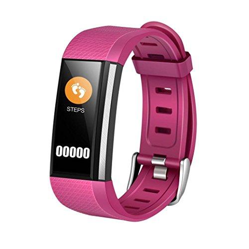 Fitness Tracker Smartwatch für Android IOS, VNEIRW M200 0.96'' TFT Sportuhren Intelligente Uhr mit Bluetooth/Herzfrequenz-Überwachung/Blutdruck/Schrittzähler (Bildschirm: 0,96 Zoll, Pink)