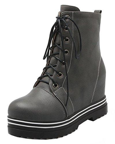 YE Damen Wedges Plateau High Heels stiefeletten mit Keilabsatz Nieten Herbst Winter Schnürung Ankle Boots Grau