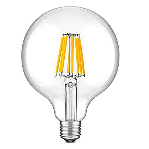 Bonlux - Bombilla LED de 8 W con forma de globo vintage, E27, filamento LED regulable, forma G125, luz blanca cálida, 2700 K, rosca Edison ES 70 W, halógena, 220 V